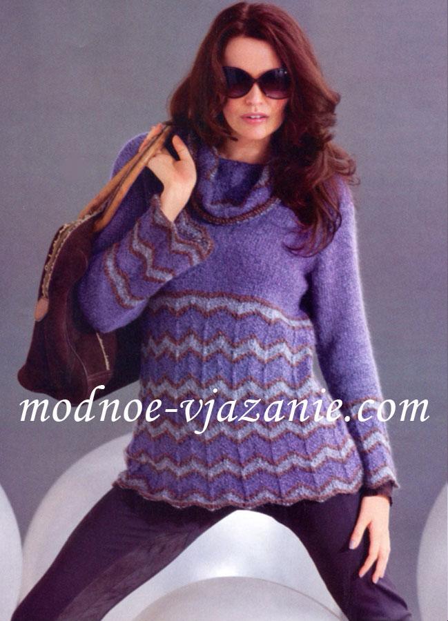 Женский свитер с узором зигзаг.