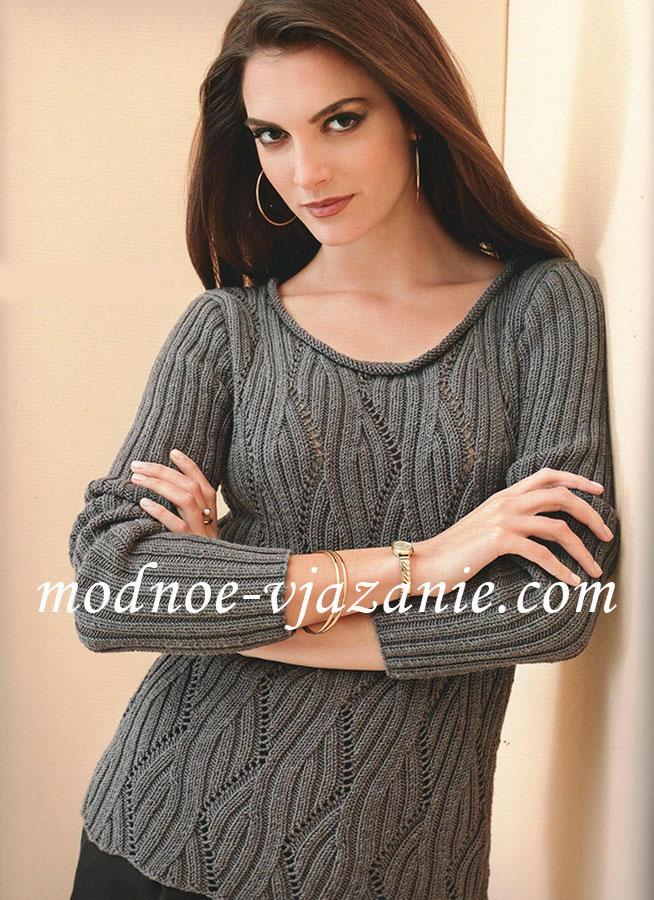 Ажурный пуловер с узором