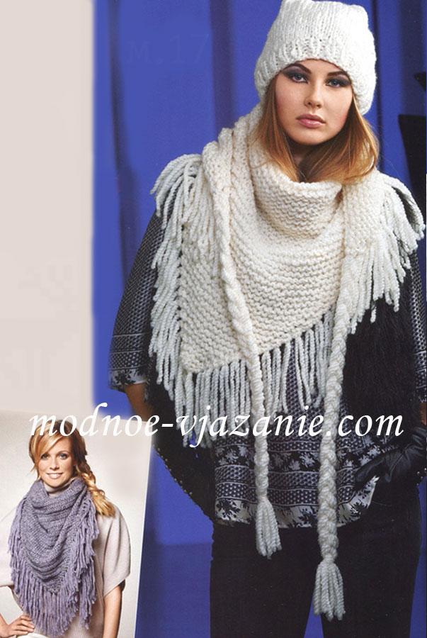 Вязание крючком шали шарфы снуд 3