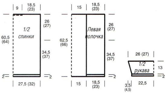 Схема вязания кардигана с