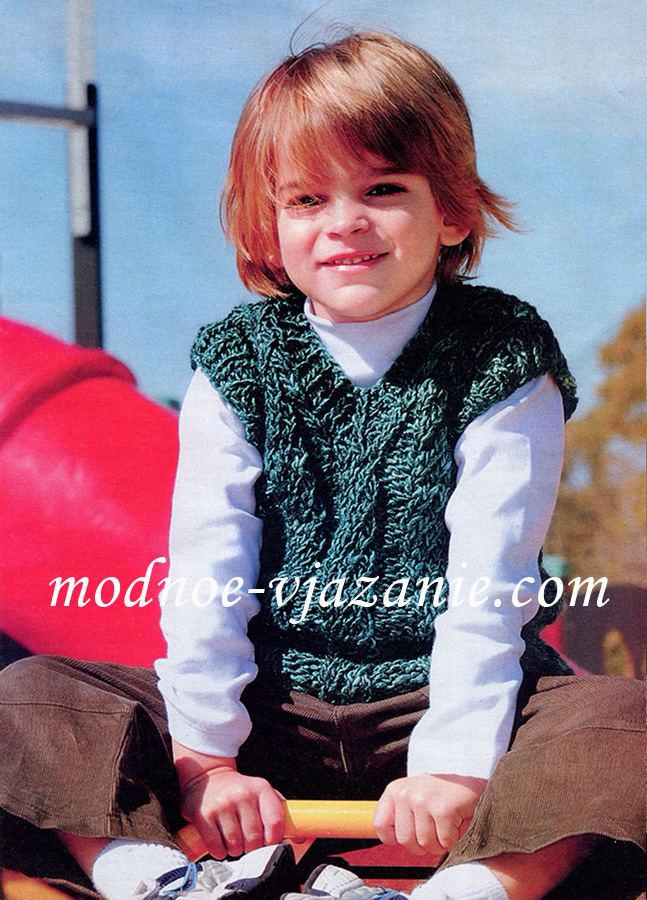 Вязание спицами для мальчика из толстой пряжи7