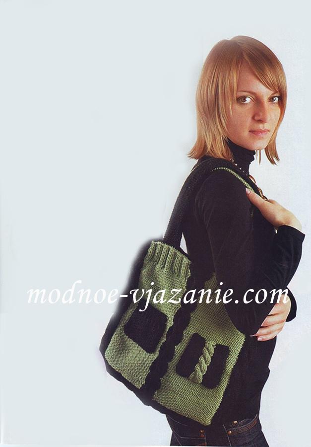 Вязаная сумка + с деревянными ручками