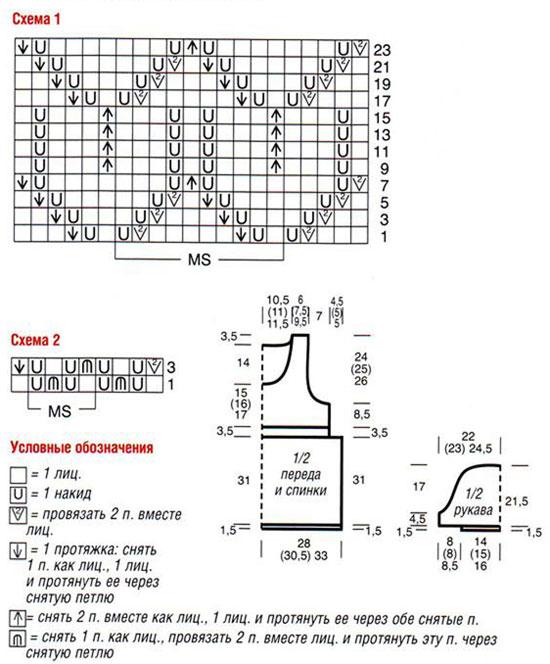 Ажурные узоры для туники на спицах со схемами