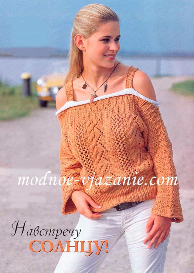 Пуловер с вырезом кармен