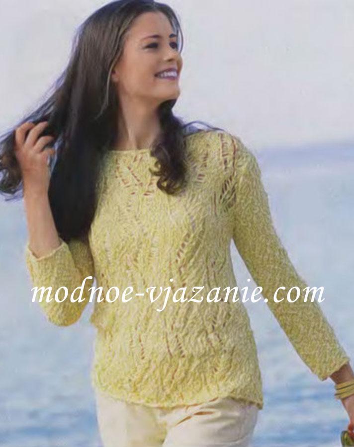 Ажурный летний пуловер