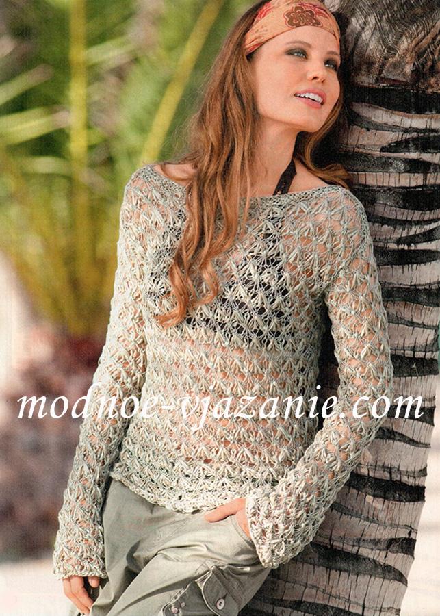 Прозрачный пуловер цвета хаки