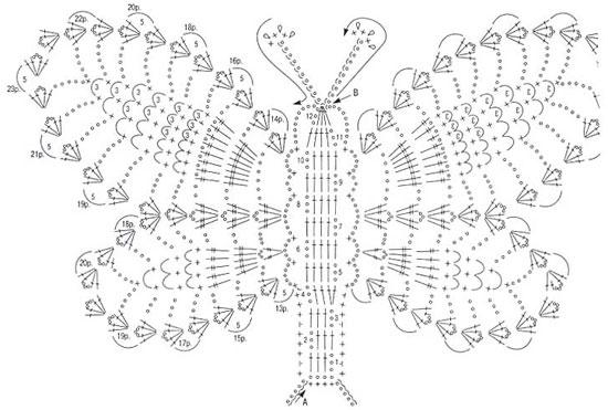 "Мотив ""Бабочка"". Схема вязания"