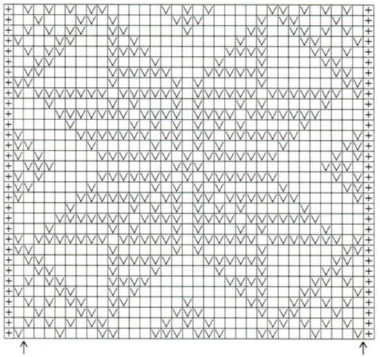 Схема вязания крючком прямоугольной салфетки