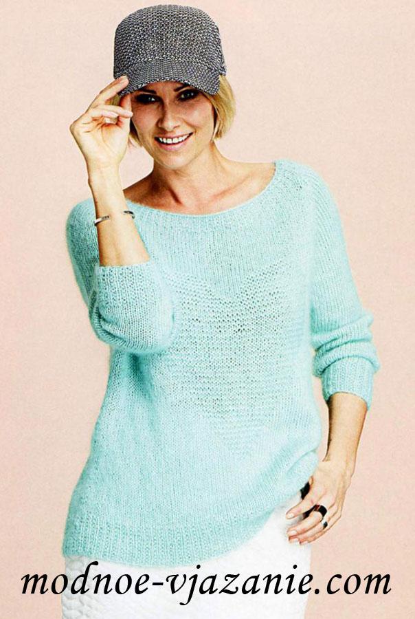 Женский пуловер с рукавами реглан