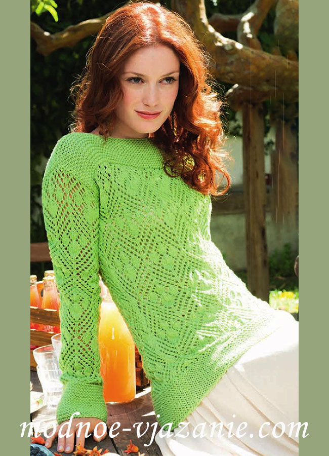 вязание свитера ажурным узором спицами
